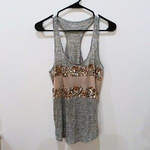 ✨ Express Sequin Grey Tank